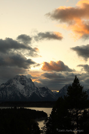 Mount Moran over Jackson Lake. Grand Teton National Park, Wyoming.