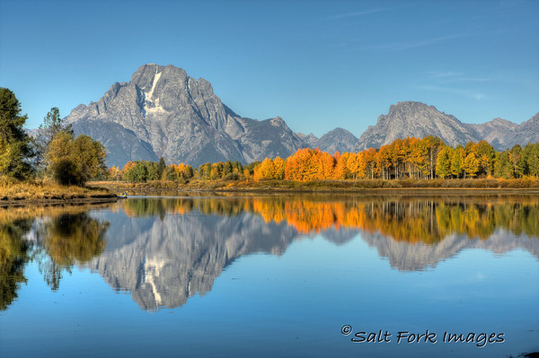 Mount Moran and Oxbow Bend.  Grand Teton National Park, Wyoming.