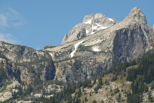 Disappointment Peak (right) with Middle Teton in the background.  The notch in the center is right beside the saddle above Amphitheater Lake.