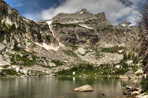 Amphitheater Lake at the end of a 5-mile, 3000-ft ascent - GTNP - Wyoming
