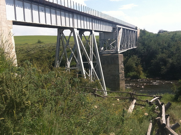 Old rail trestle at Fall River near Ashton, Idaho.  Nowadays it's a great bike trail!