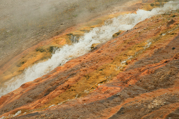 Hot water flows into the Firehole River in Yellowstone.