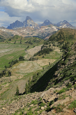 View from the top of Fred's Mountain into the Jedediah Smith Wilderness and Grand Teton National Park, Wyoming