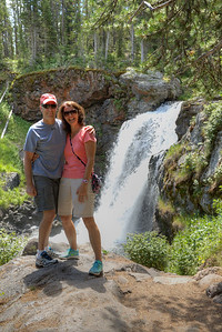 Ray and Denise at Moose Falls on Crawfish Creek in Yellowstone National Park
