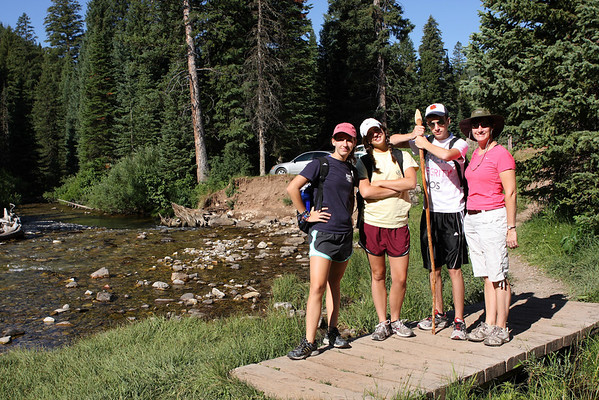 Sara, Avery, Aaron and Jill leave the trailhead at Darby Canyon on the way to Wind Cave in the Jedediah Smith Wilderness area in Wyoming.