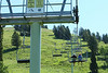 Riding the ski lift to the top of Fred's Mountain at Grand Targhee Ski Resort.