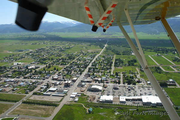 Driggs, Idaho, from the back seat of an Aviat Husky.
