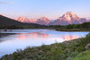Mount Moran and the Teton Range reflected at Oxbow Bend in Grand Teton National Park, Wyoming.
