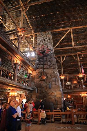 Inside the Lobby at Old Faithful Inn - Yellowstone National Park