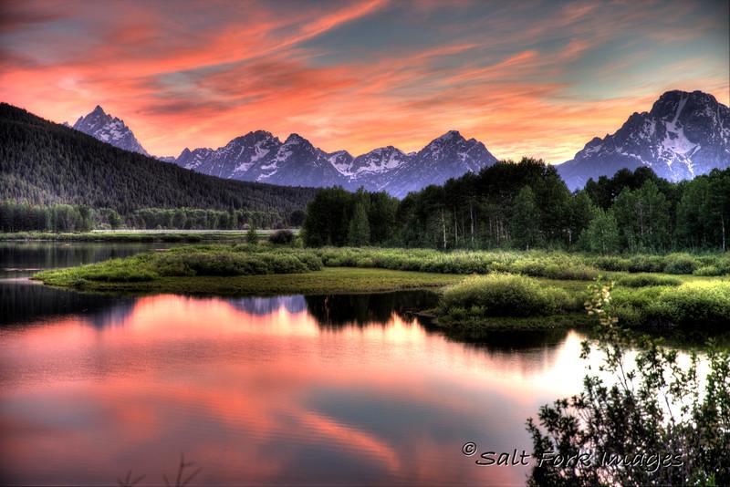 Sunset at Oxbow Bend - Grand Teton National Park - Wyoming