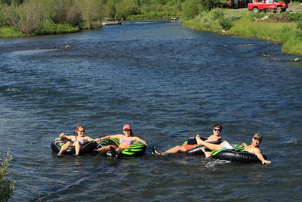 Caroline, Sara, Aaron, and TJ floating the Warm River in Idaho.