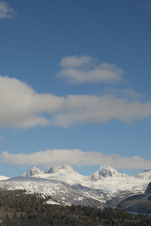 Grand Teton hides in the clouds as we head back down from skiing at Grand Targhee.