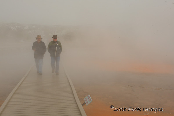 David (L) and Ronnie on the boardwalk at Grand Prismatic Spring - YNP