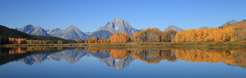 Mount Moran and the colors of fall reflected in Oxbow Bend - Grand Teton National Park - Wyoming
