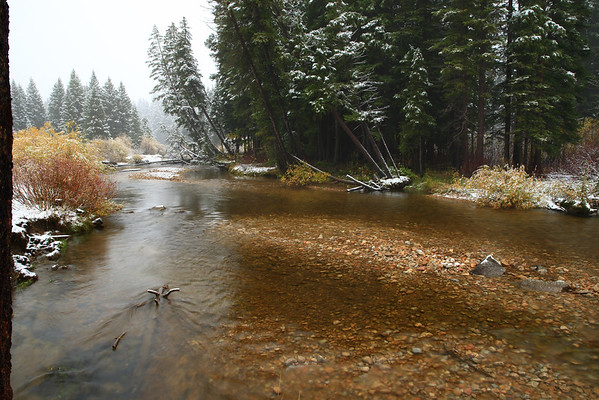 October 3rd and it's snowing in Teton Canyon.  Woohoo!