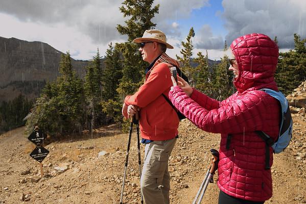 Sleet fell on us on top of Rendezvous Mountain - near Jackson, Wyoming
