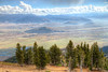 Looking down from Rendezvous Mountain at the Snake River and the Town of Jackson, Wyoming