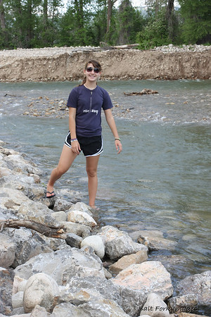 We just couldn't keep Sara out of Teton Creek behind our condo.  It was very cold!