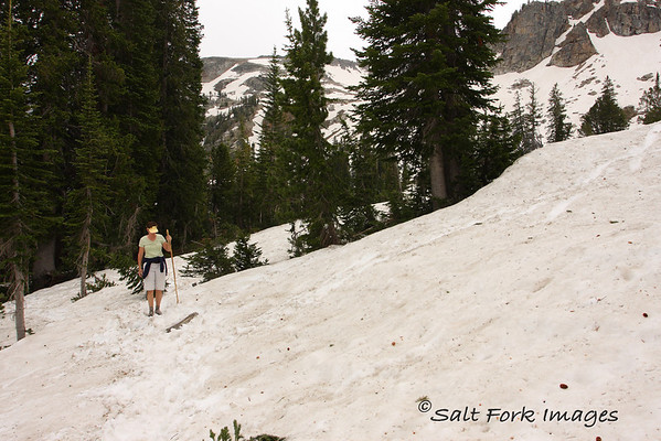Jill navigates the snowcovered trail on her way to Lake Solitude - July 21, 2008.