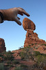 Our visit was cut short by a menacing giant who tried to take Balancing Rock from its pedestal.....