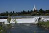 The Snake River in Idaho Falls with the Mormon Temple in the background.