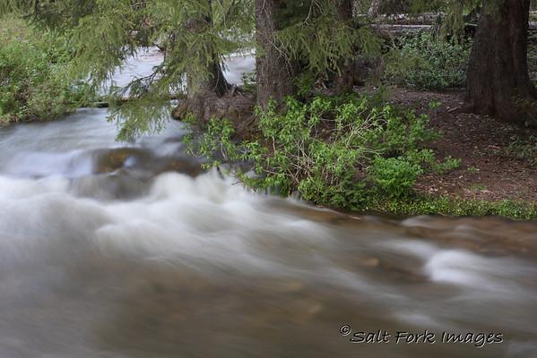 Teton Creek rages down the mountain near the top of Teton Canyon.