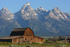 The iconic Mormon Row barn in Grand Teton National Park, Wyoming.