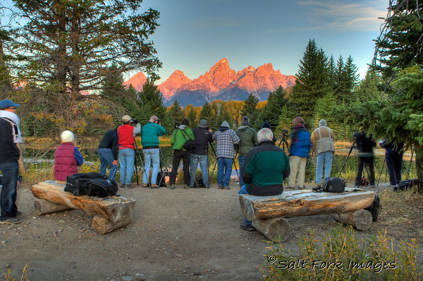 GIVE ME A BREAK!  Where were all these people last summer while I was wearing myself out trying to get a good sunrise shot at Schwabacher's Landing?  This is just part of the 30 or so photographers jostling for position on the morning of September 27, 2010.