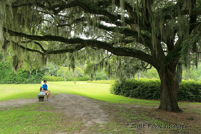 Jill takes a break at Middleton Place near Charleston, SC