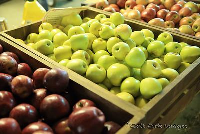 Three of the 22 varieties of apples at Skytop Orchard near Saluda, North Carolina.