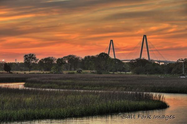 Ravenel Bridge at Sunset - Mt. Pleasant, South Carolina