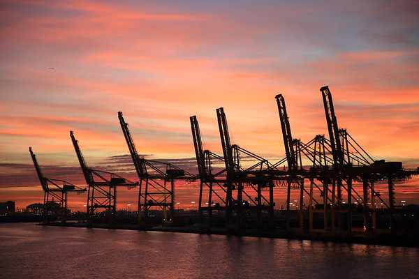 Sunset at the Port of Barcelona