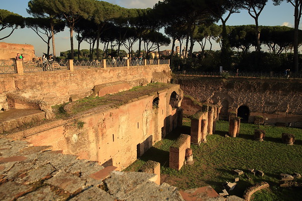 First century palace ruins on The Palatine Hill - Rome, Italy
