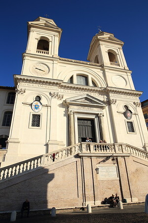 16th century church atop the Spanish Steps - Trinita' del Monti - Rome, Italy
