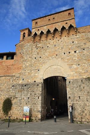 Part of the 13th century walls of San Gimignano, Italy