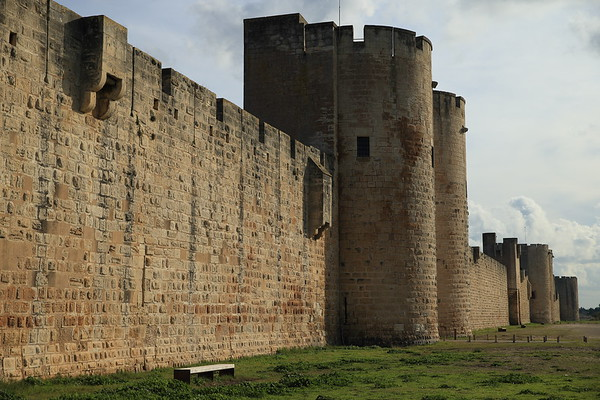 Medieval walls around Aigues-Mortes, France