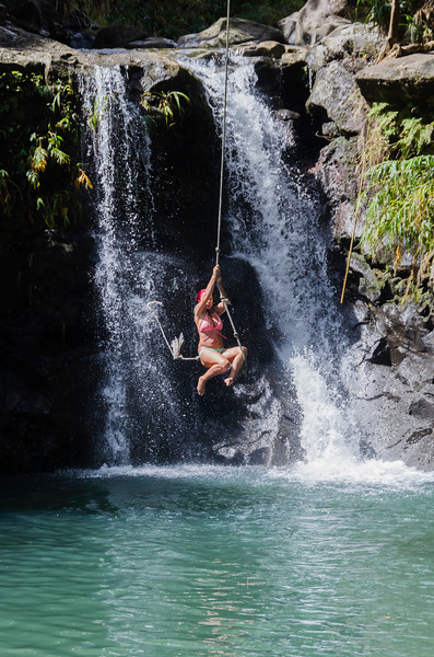 Rope swing at lower Twin Falls - Road to Hana