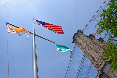 Some flags under the Brooklyn Bridge