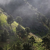 Spain, Gran Canaria: View from Camino de Los Pinos de Gáldar over steep grazing grounds.