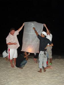 Lighting a lantern for the Tsunami victims.