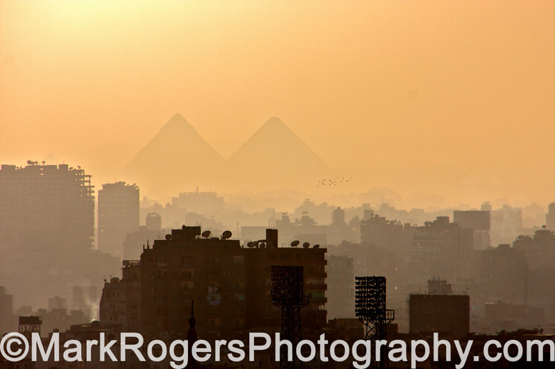 Cairo at Dusk, Great Pyramids<br /> Egypt