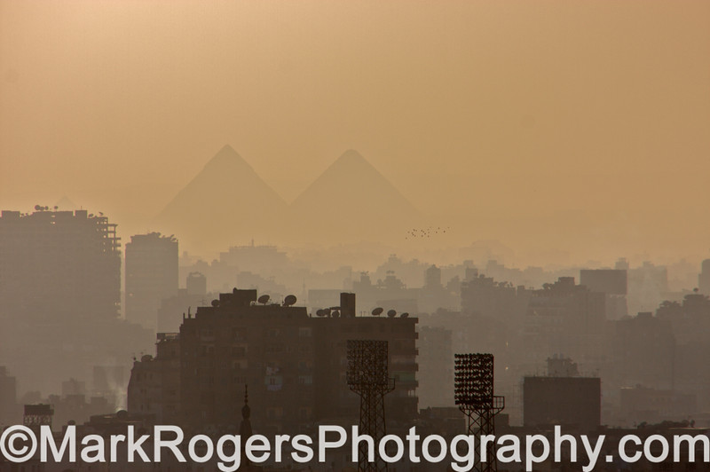 Cairo skyline with Pyramids