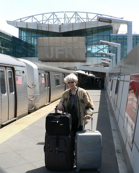 Gely at the Howard Beach subway station on her way to JFK Airport.