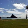 Kualoa  Regional Park with Mokolii (Chinaman's Hat).