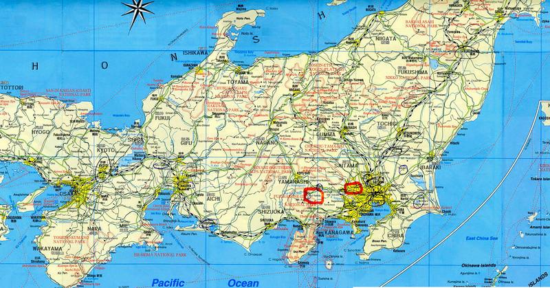 Tachikawa+Fuji-yoshida on map