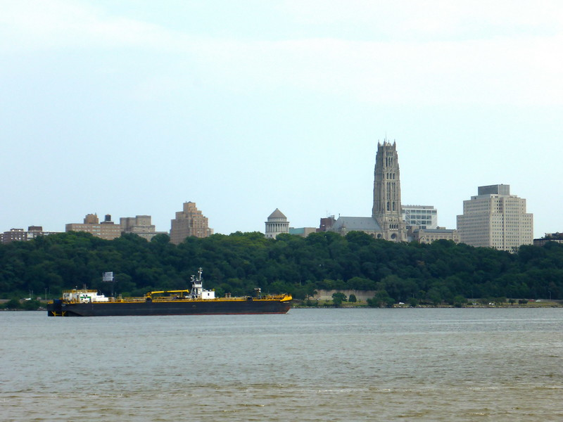 View from Edgewater of the Riverside Church in Manahattan.