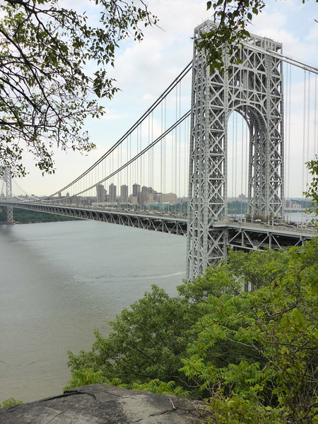 View of the GWB from the Palisades north of the bridge.