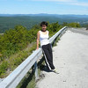 Zhao on Rte 52, showing off Ellenville below and the Catskills in the distance.
