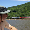 Train on the eastern shore of the Hudson.