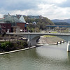 View of Chattanooga from the walk bridge across the Tennessee River.